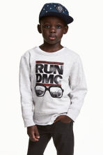 Camisola sweat com estampado - Cinzento claro/RUN DMC -  | H&M PT 1