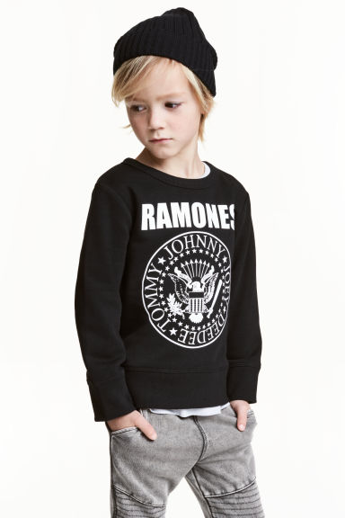 Printed sweatshirt - Black/Ramones - Kids | H&M CN 1