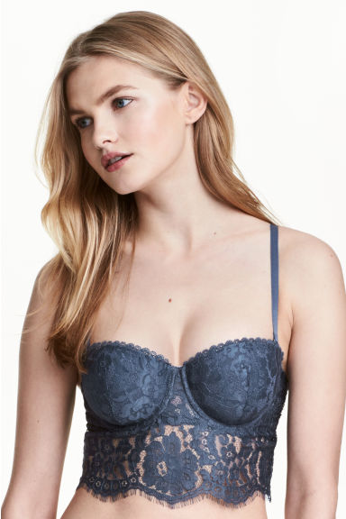 Lace bralette - Storm blue - Ladies | H&M 1