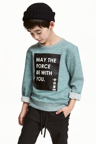 Printed sweatshirt - Dusky green/Star Wars - Kids | H&M CN