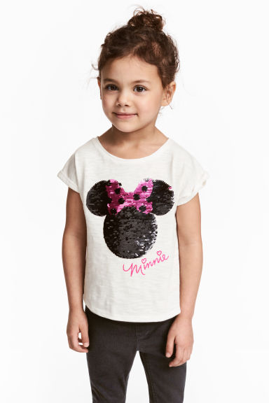 Top with sequins - White/Minnie Mouse -  | H&M CN 1