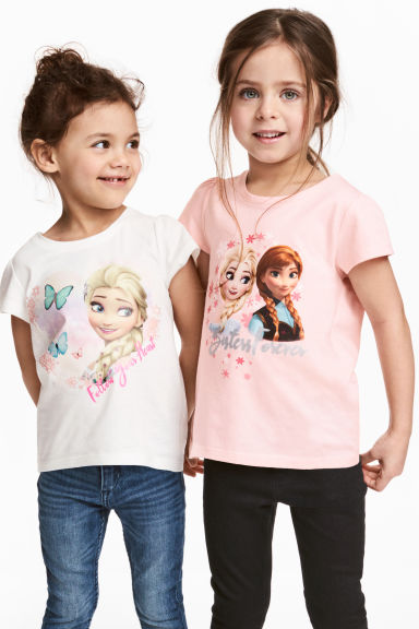 Lot de 2 tops en jersey - Blanc/La Reine des Neiges - ENFANT | H&M FR 1