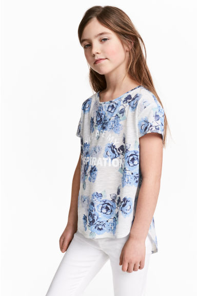 Short-sleeved printed top - Light grey/Floral - Kids | H&M CN 1