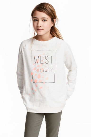 Sweat avec impression - Gris clair chiné -  | H&M FR 1
