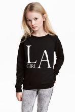 Printed sweatshirt - Black -  | H&M CN 1