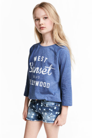 Printed jersey top - Blue marl - Kids | H&M 1