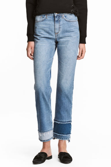 Straight High Cropped Jeans - Bleu denim - FEMME | H&M BE 1