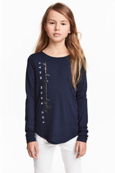 Long-sleeved top - Dark blue -  | H&M 1