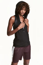 Sports top with a hood - Black - Ladies | H&M 1