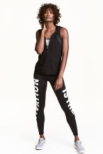 Sports tights - Black/Text print - Ladies | H&M 1