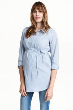 MAMA Cotton tunic - Light blue/Striped - Ladies | H&M 1