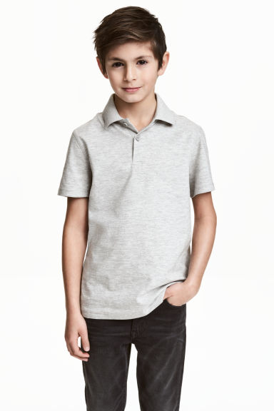 Polo shirt - Light grey marl - Kids | H&M CN 1