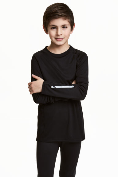 Long-sleeved sports top - Black - Kids | H&M