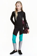 Sports tights - Black/Turquoise -  | H&M 1