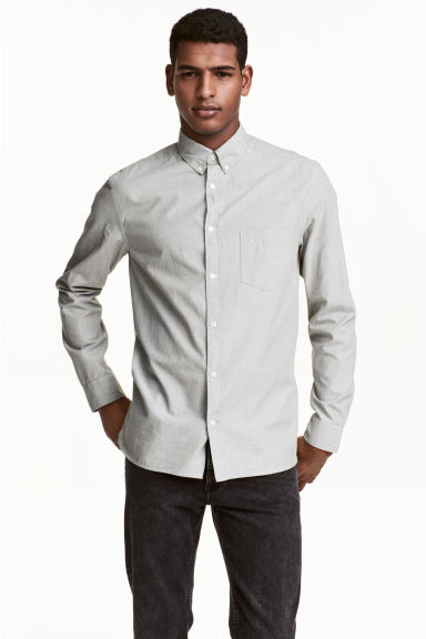 Cotton shirt Regular fit - Light khaki green - Men | H&M 1