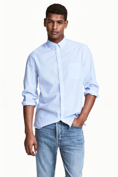 Cotton shirt Regular fit - Light blue/Striped - Men | H&M CN 1