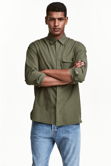 Cotton shirt Regular fit - Khaki green -  | H&M CN 1