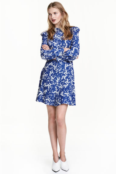 Printed dress - Dark blue/Floral - Ladies | H&M CN 1
