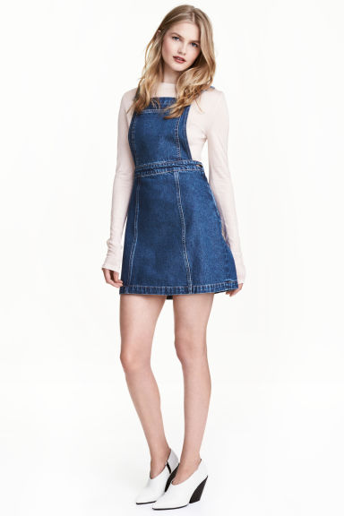 Denim dungaree dress - Dark denim blue - Ladies | H&M 1