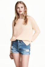 Short High Waist Shorts - Denimblauw trashed - DAMES | H&M BE 2