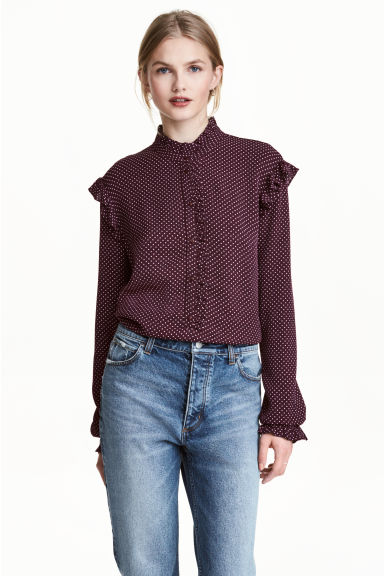 Frilled blouse - Plum/Spotted -  | H&M