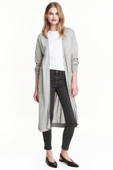 Long cardigan - Light grey marl - Ladies | H&M CN