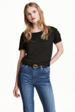 Jersey top - Black marl - Ladies | H&M 1