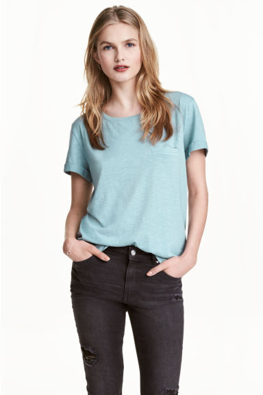 Jersey top - Light turquoise marl - Ladies | H&M GB 1