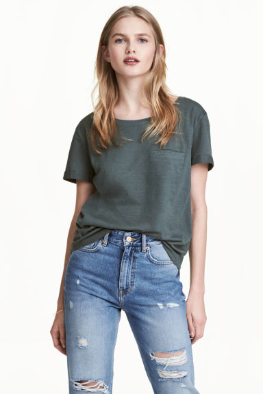 Jersey top - Dark green marl - Ladies | H&M 1