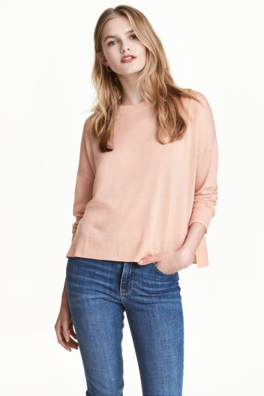 Fine-knit jumper - Powder pink - Ladies | H&M GB 1