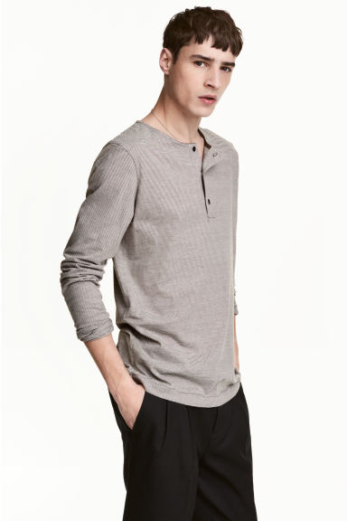 Cotton jersey Henley shirt - Dark grey/Striped - Men | H&M CN