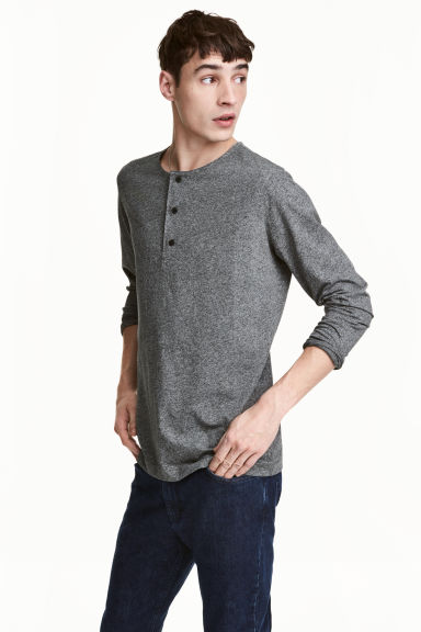 Cotton jersey Henley shirt - Dark grey marl - Men | H&M 1