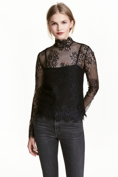 Long-sleeved lace top - Black - Ladies | H&M CN