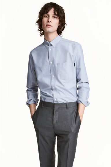 Premium cotton Oxford shirt - Light grey blue - Men | H&M CN 1