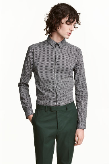 Patterned shirt Slim fit - White/Black - Men | H&M 1