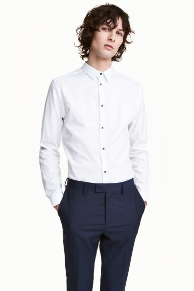 Premium cotton shirt - White - Men | H&M CN 1