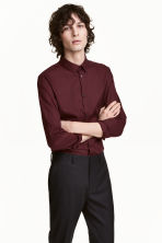 Premium cotton shirt - Burgundy - Men | H&M 1