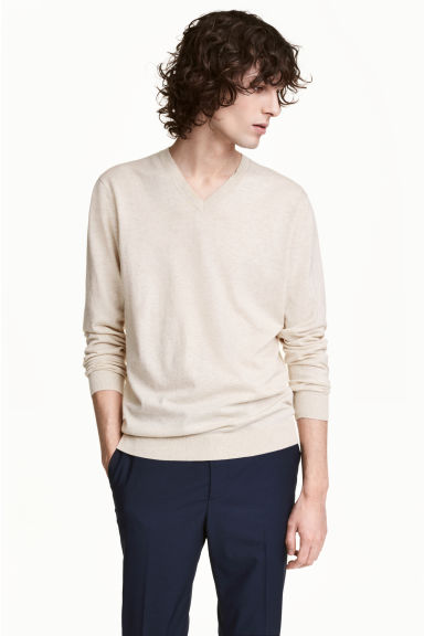Premium cotton jumper - Light beige marl - Men | H&M CN 1