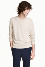 Premium cotton jumper - Light beige marl - Men | H&M 1