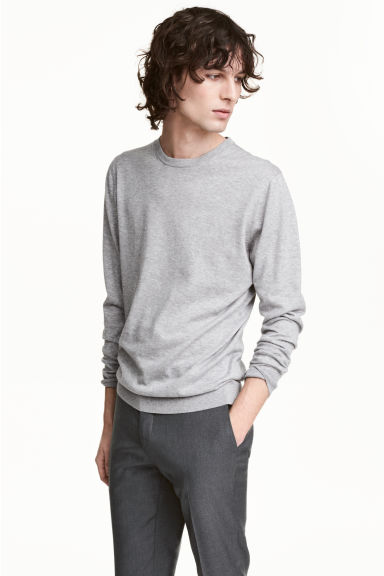 Premium cotton jumper - Grey marl - Men | H&M 1