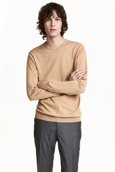 Premium cotton jumper - Beige marl - Men | H&M