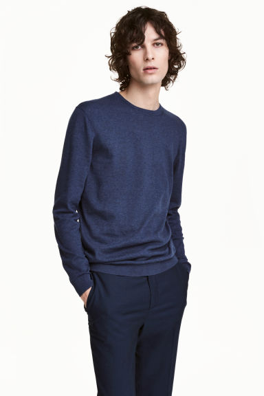 Premium cotton jumper - Navy marl - Men | H&M 1