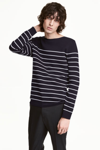 Premium cotton jumper - Blue/White striped - Men | H&M