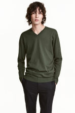 Premium cotton jumper - Dark khaki green - Men | H&M CA 1