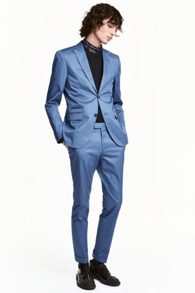 Cotton suit trousers Slim fit - Pigeon blue - Men | H&M CN