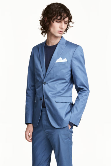 Cotton jacket Slim fit - Pigeon blue - Men | H&M CA