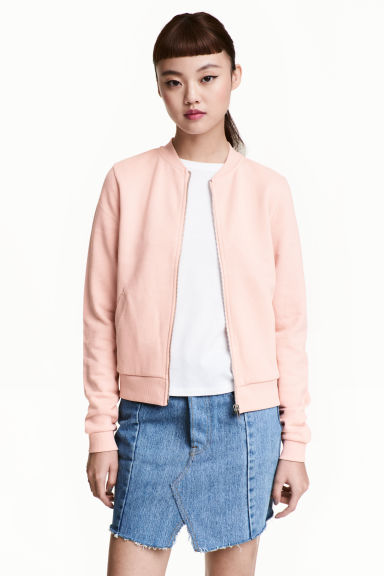 Sweatshirt jacket - Powder pink - Ladies | H&M CN 1