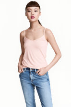 Jersey strappy top - Powder pink - Ladies | H&M CN 1