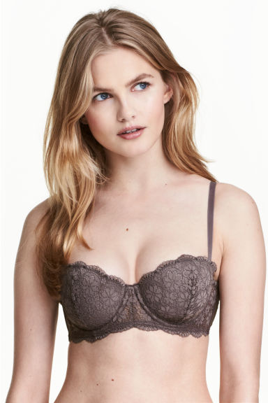 Lace balconette bra - Truffle - Ladies | H&M