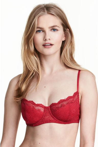 Lace balconette bra - Red - Ladies | H&M